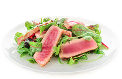 Appetizer with rare fried tuna Royalty Free Stock Photo
