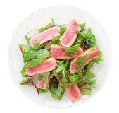 Appetizer with rare fried tuna Stock Images