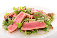 Appetizer with rare fried tuna Royalty Free Stock Photography