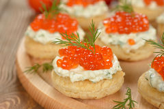 Appetizer with red caviar Stock Photo