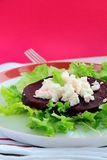 Appetizer salad of beets and goat cheese Royalty Free Stock Images
