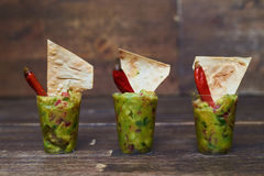 Appetizer with salad decorated with red piper and pita bread Royalty Free Stock Photography