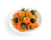 Appetizer of salmon with fennel and olives Stock Photo