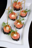 Appetizer of salmon with mozzarella Royalty Free Stock Image