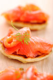 Appetizer with salmon pancakes Royalty Free Stock Photo