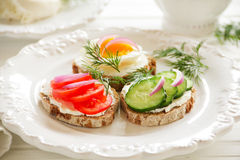 Appetizer sandwiches and cheese Stock Photo