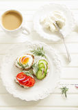 Appetizer sandwiches and cheese Royalty Free Stock Image