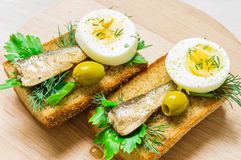 Appetizer with sardines and egg Stock Images