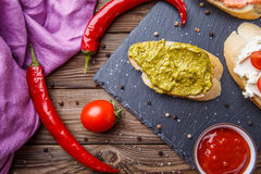 Appetizer with sauces and vegetables Royalty Free Stock Image