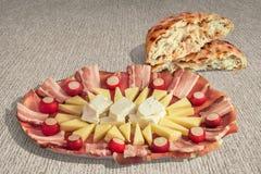 Appetizer Savory Dish Meze And Leavened Pitta Flatbread Torn Loaf Set On Striped Brown Kraft Paper Background Stock Images