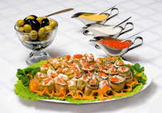 Appetizer served. Up with different dressings Royalty Free Stock Photos