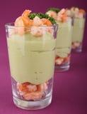 Appetizer, shrimp and avocado Stock Images