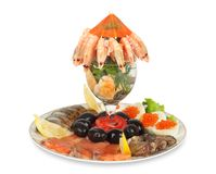 Appetizer of shrimp, fish, caviar, olives Stock Photography