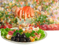 Appetizer of shrimp, fish, meats, olives Stock Image