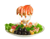 Appetizer of shrimp, fish, meats, olives Stock Photos