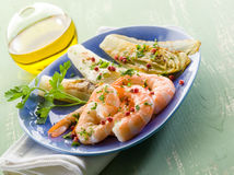 Appetizer with shrimp and grilled Royalty Free Stock Image
