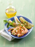 Appetizer with shrimp and grilled Royalty Free Stock Photo
