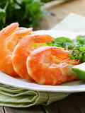 Appetizer of shrimp with herbs Royalty Free Stock Images