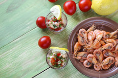 Appetizer with shrimp in small glasses Royalty Free Stock Photos