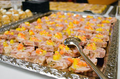Appetizer on Silver Tray. Canape with Ham on a Silver Tray Royalty Free Stock Photo