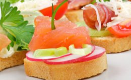 Appetizer of Smoked Salmon closeup. Appetizer of Smoked Salmon with Radish and Greens on gray plate and appetizers background Stock Photo