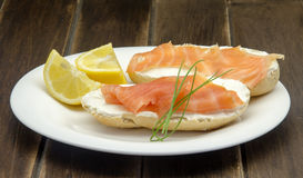 Appetizer of smoked salmon Stock Images
