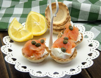 Appetizer of smoked salmon Stock Photography