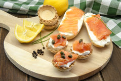 Appetizer of smoked salmon Royalty Free Stock Images