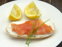 Appetizer of smoked salmon Royalty Free Stock Photo