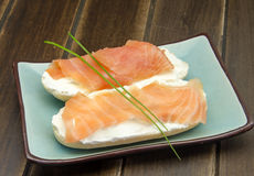 Appetizer of smoked salmon Stock Image