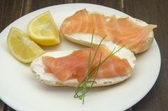 Appetizer of smoked salmon Stock Photos