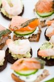 Appetizer of smoked salmon & king prawns Royalty Free Stock Images