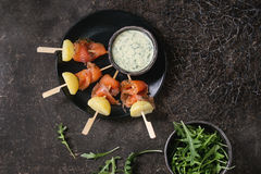Appetizer with smoked salmon and potatoes Stock Images