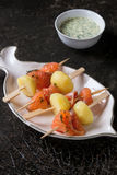 Appetizer with smoked salmon and potatoes Royalty Free Stock Photos