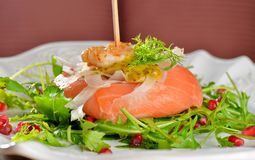 Appetizer, smoked salmon with shrimps Stock Photography