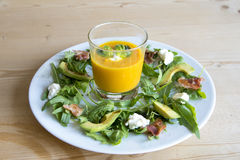 an appetizer with soup and salad Royalty Free Stock Photography