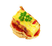 Appetizer of spanish omelet. On a slice of bread smeared with tomato cut off and isolated Stock Photo
