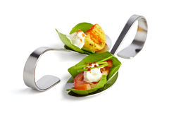 Appetizer spoons Stock Image