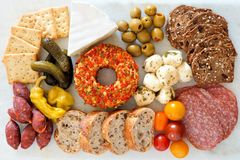 Appetizer buffet over a marble background Royalty Free Stock Images