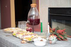 Appetizer spread at at christmas meal stock image
