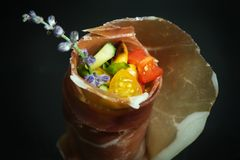 Appetizer with stuffed ham Stock Photography