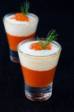 Appetizer of sweet pepper, cream and red caviar, two servings Stock Image
