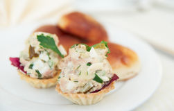 Appetizer in tartlets and patties on plate Stock Photos