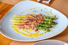 Appetizer with tasty asparagus stock images