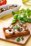 Appetizer with toast and mushrooms Royalty Free Stock Photos