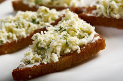 Appetizer , toasted with cottage cheese Royalty Free Stock Photos