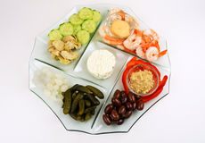 Appetizer tray with many choices Stock Photos