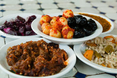 Appetizer. Typical Moroccan starter meal with olives Stock Images