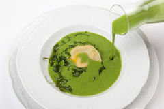 Appetizer with vegetarian parmesan ravioli in rucola soup Stock Photo