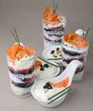 Appetizer, verrine and finger food Stock Photography